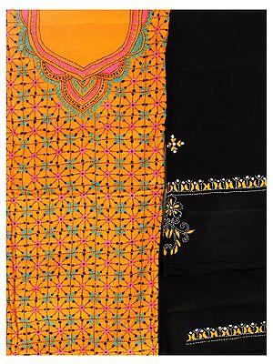 Autumn-Sunset Salwar Kameez Fabric from Kolkata with Kantha Embroidered Florals