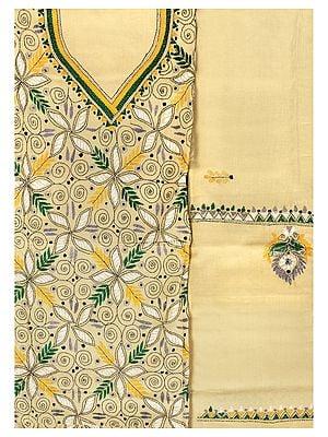 Sea-Mist Salwar Kameez Fabric from Kolkata with Kantha Hand-Embroidered Florals