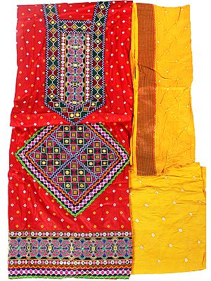 Bandhani Tie-Dyed Salwar Kameez Fabric with Floral Patchwork and Mirrors