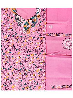 Sachet-Pink Salwar Kameez Fabric from Kolkata with Kantha Hand-Embroidery