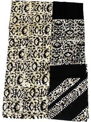 Batik-Dyed Salwar Kameez Fabric with Printed Florals