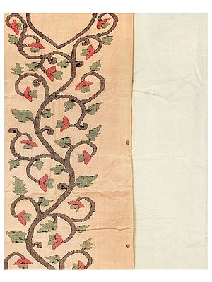 Almond-Cream Salwar Kameez Fabric from Banaras with Woven Flower Vines