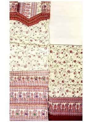 Printed Salwar Kameez Fabric from Jaipur with Embroidery and Self-Weave