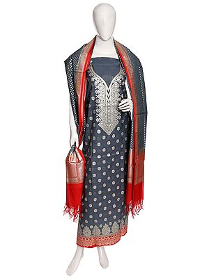 Salwar Kameez Fabric from Banaras with Woven Zari Flowers