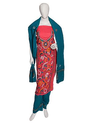 Confetti-Pink Salwar Kameez Fabric from Kolkata with Kantha Hand-Embroidery