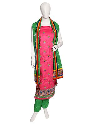 Party Punch Salwar Kameez Bandhani Tie-Dye Dress Material from Gujarat with Embroidery and Mirrors
