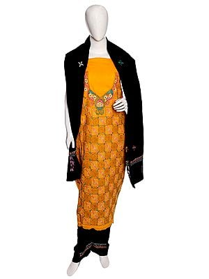 Citrus Salwar Kameez Fabric from Kolkata with Kantha Hand-Embroidery