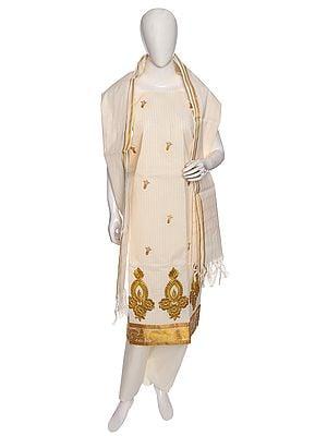 Pristine White Salwar Kameez  Kasavu Cotton Fabric from Kerala with Zari-Embroidery and Woven Stripes