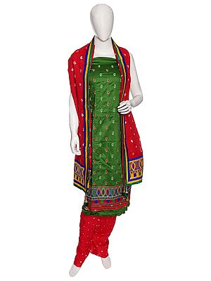 Dill-Green Salwar Kameez Bandhani Tie-Dye Dress Material from Gujarat with Embroidery and Tassels