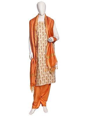 Seed-Pearl Cotton Salwar Kameez Fabric with Block-Printed Paisleys