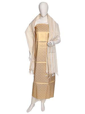 Golden-Biege Salwar Kameez Fabric from Banaras with Woven Flowers and Paisleys