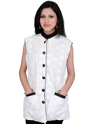 Snow-White Waistcoat with Lukhnavi Chikan Embroidery