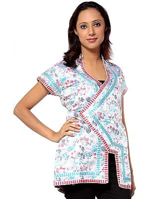 Beige Floral Brocaded Waistcoat from Sikkim with Gota Border