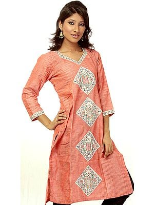 Coral Kurti from Bihar with Hand-Painted Madhubani Patchwork
