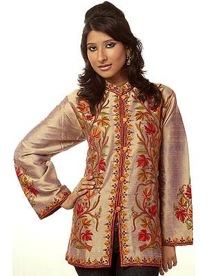 Khaki Jacket from Kashmir with Crewel Embroidered Chinar Leaves by Hand