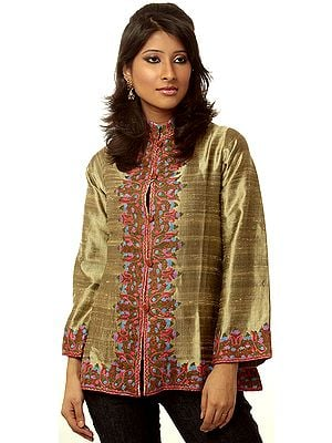 Beige Jacket from Kashmir with Crewel Embroidered Paisleys by Hand