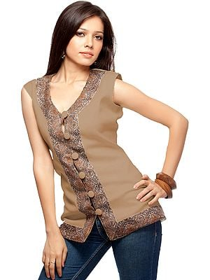 Plain Waistcoat with Jamawar Border