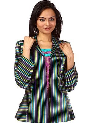 Multi-color Woven Stripes Jacket from Kashmir