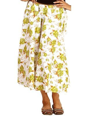 White Drawstring Skirt with Printed Green Flowers