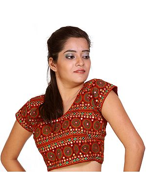 Black Choli From Gujarat with Multi-Color Embroidery and Mirrors