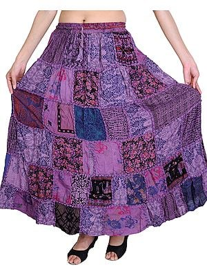 Long Printed Dori Skirt from Gujarat with Patch Work