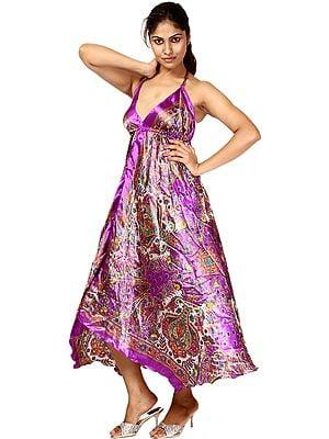 Royal Purple Printed Halter-Neck Summer Dress