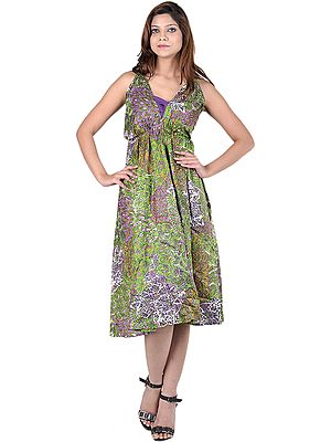Green and Purple Halter Neck Summer Dress with Printed Flowers