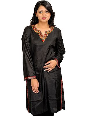 Phantom-Black Plain Long Kurti from Kashmir with Floral Hand-Embroidery on Neck