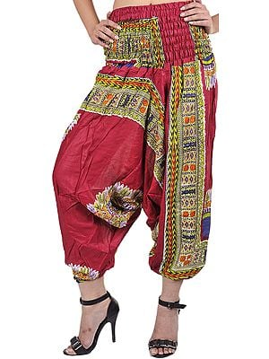 Cerise Harem Trousers with Printed Motiffs