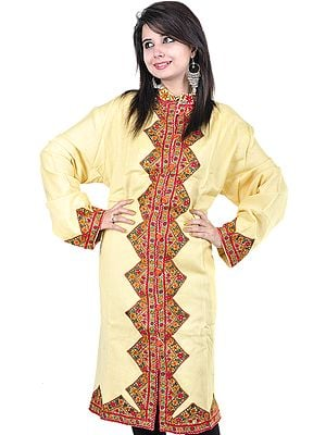 Cream Long Kashmiri Jacket with Hand Embroidered Flowers on Borders