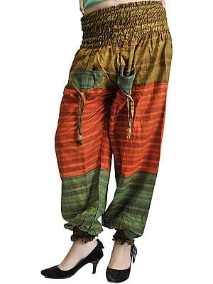 Green and Orange Woven Yoga Trousers