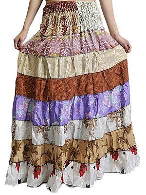 Vintage-Sari Patchwork Printed Skirt