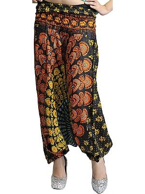 Black Harem Trousers with Printed Motifs
