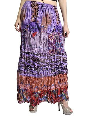 Lavender Crushed Elastic Skirt with Batik Print
