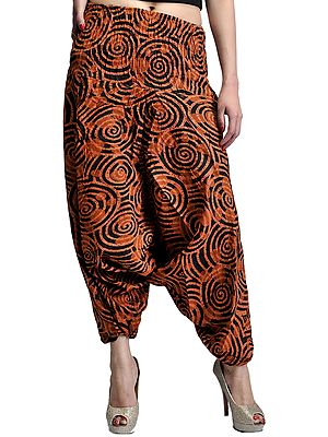 Brown Yoga Trousers with Printed Spirals