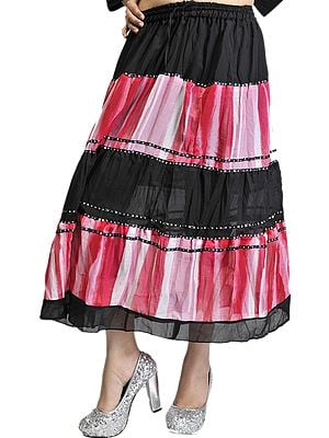 Black and Red Shaded Midi-Skirt with Embroidered Sequins