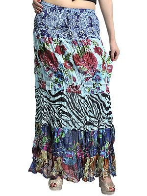 Blue Crushed Elastic Skirt with Floral Print