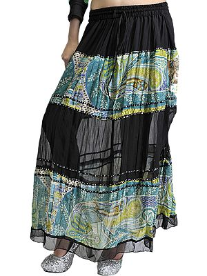 Black Skirt with Embroidered Sequins and Printed Paisleys