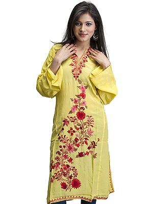 Cyber-Yellow Kashmiri Phiran with Ari Embroidered Flowers
