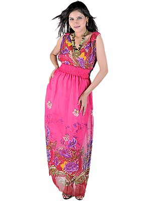 Hot-Pink Long Dress With Large Printed Flowers And Elastic Waist