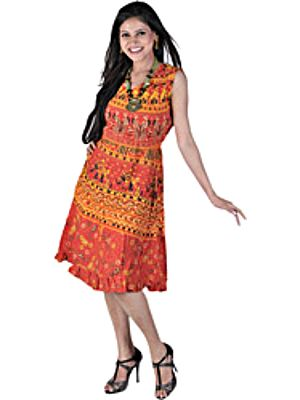 True-Red Sanganeri Summer Dress With Printed Elephants And Flowers