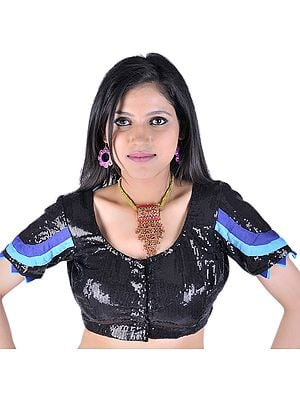 Black Bollywood Choli With Sequins and Patch Border