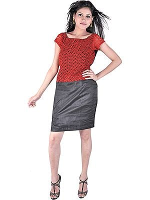 Garnet-Red And Black Tunic Dress With Side Slit