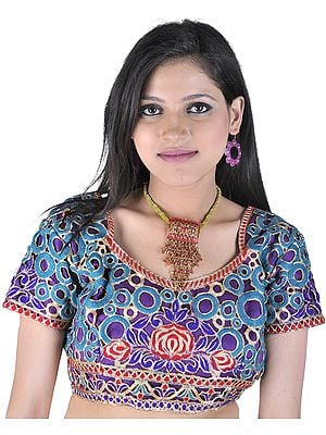 Cutwork Bollywood Choli with Metallic Thread Embroidered Flowers