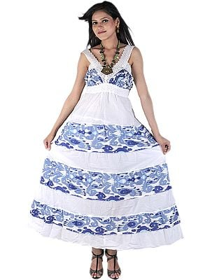 Chic White And Blue Printed Barbie Dress With Crochet Embroidery On Neck
