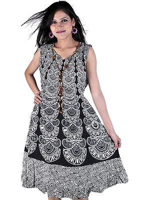 Ivory And Black Dress with Jodhpuri Print