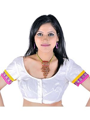 Ivory Sari Blouse With Sequins And Banarasi Border
