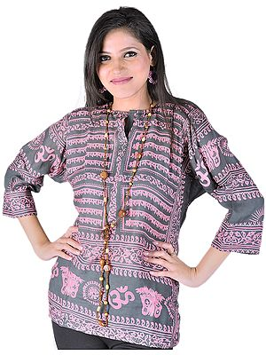 Black Kurti Top With Sri Rama Mantra