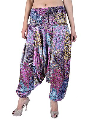 Pink and Yellow Printed Harem Trousers