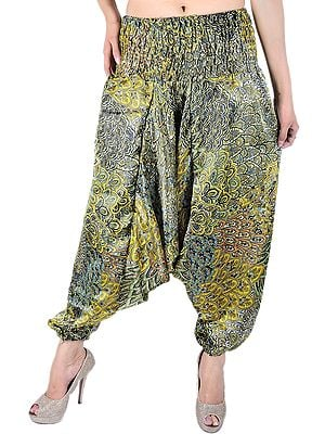 Primrose-Yellow and Green Printed Harem Trousers